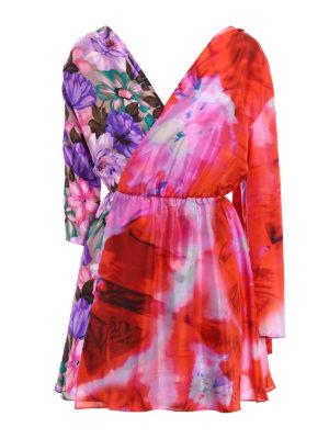 M.S.G.M.: short dresses - Printed silk asymmetrical dress