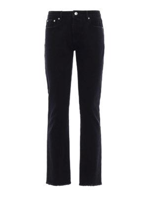 M.S.G.M.: straight leg jeans - Logo print denim jeans