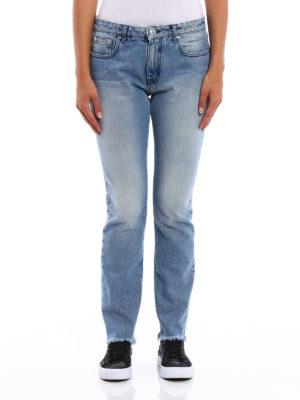 M.S.G.M.: straight leg jeans online - Logo print denim jeans