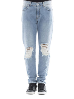 M.S.G.M.: straight leg jeans online - Scraped knee cotton denim jeans
