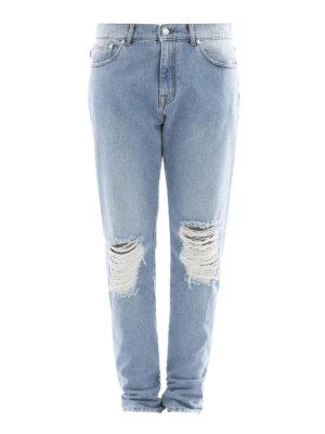 M.S.G.M.: straight leg jeans - Scraped knee cotton denim jeans