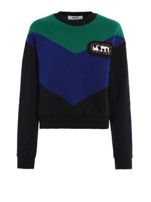 M.S.G.M.: Sweatshirts & Sweaters - Embellished colour block sweatshirt