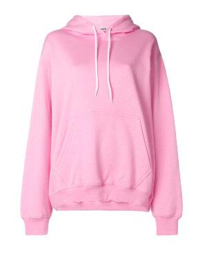 m.s.g.m.: Felpe e maglie - Felpa oversize in cotone rosa con logo