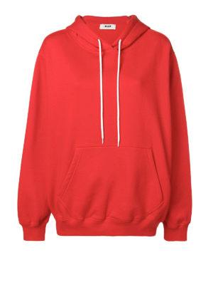 m.s.g.m.: Felpe e maglie - Felpa oversize in cotone rossa con logo