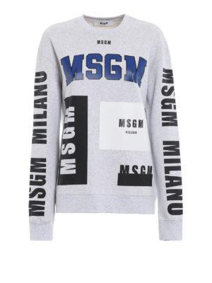 m.s.g.m.: Felpe e maglie - Felpa over grigio mélange con stampe logo