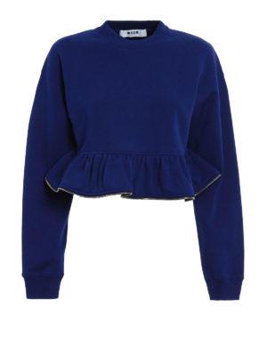 M.S.G.M.: Sweatshirts & Sweaters - Zipped flounce sweatshirt