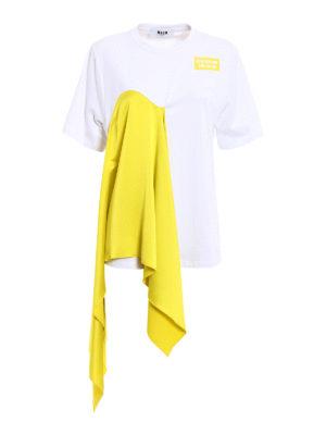 M.S.G.M.: t-shirts - Acid Yellow front drapery T-shirt
