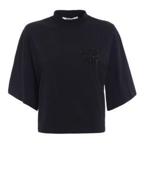 M.S.G.M.: t-shirts - Beaded M crop oversized T-shirt