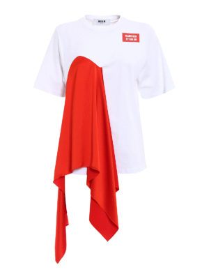 M.S.G.M.: t-shirts - Flame Red front drapery T-shirt