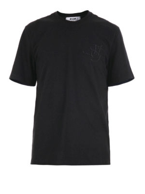 M.S.G.M.: t-shirts - Logo lettering embroidered T-shirt