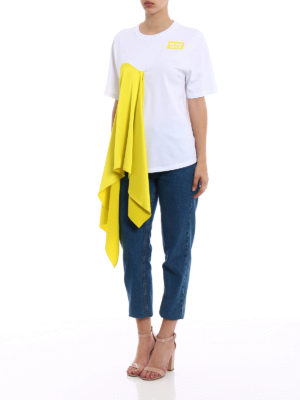 M.S.G.M.: t-shirts online - Acid Yellow front drapery T-shirt