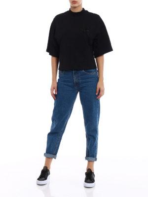 M.S.G.M.: t-shirts online - Beaded M crop oversized T-shirt