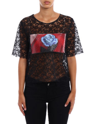 M.S.G.M.: t-shirts online - Rose print panelled lace T-shirt