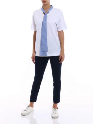 M.S.G.M.: t-shirts online - Striped bow cotton jersey T-shirt