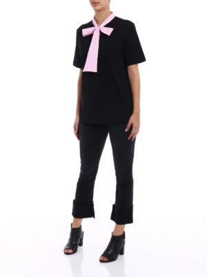M.S.G.M.: t-shirts online - Striped bow cotton T-shirt