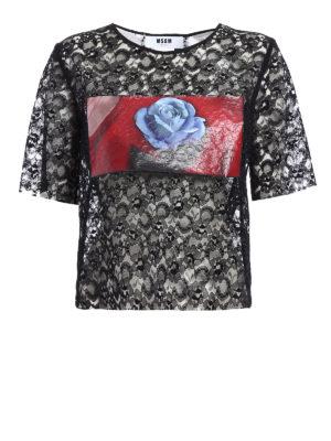 M.S.G.M.: t-shirts - Rose print panelled lace T-shirt