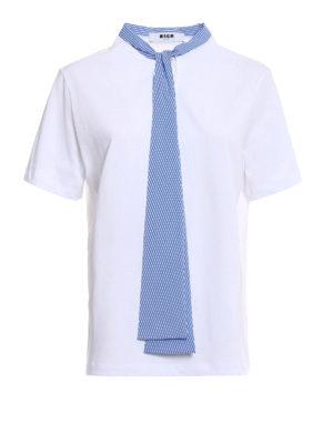 M.S.G.M.: t-shirts - Striped bow cotton jersey T-shirt