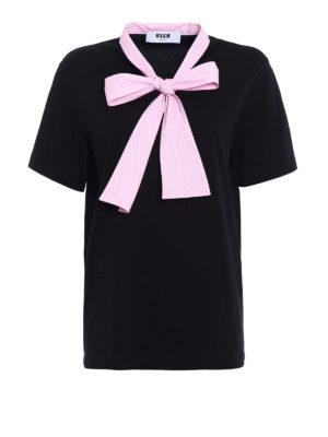 M.S.G.M.: t-shirts - Striped bow cotton T-shirt