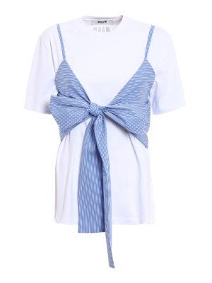 M.S.G.M.: t-shirts - Striped vest cotton jersey T-shirt