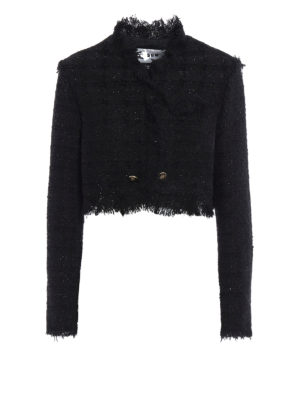 M.S.G.M.: Tailored & Dinner - Boucle tweed and lurex  crop jacket