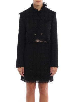 M.S.G.M.: Tailored & Dinner online - Boucle tweed and lurex  crop jacket