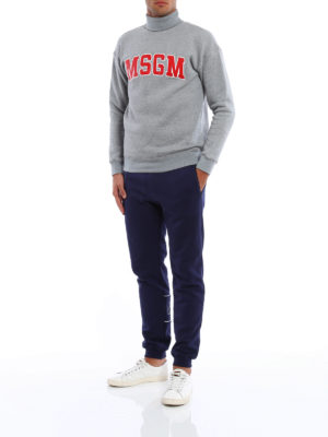 M.S.G.M.: tracksuit bottoms online - Logo cotton trousers