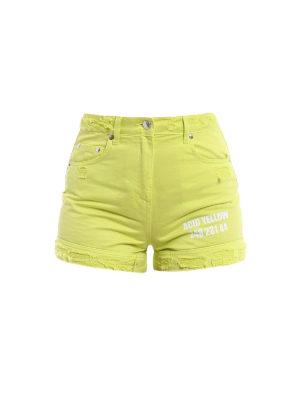 M.S.G.M.: Trousers Shorts - Acid Yellow cotton denim shorts