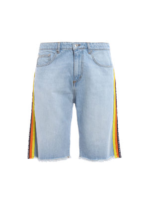 M.S.G.M.: Trousers Shorts - Denim shorts with coloured stripes