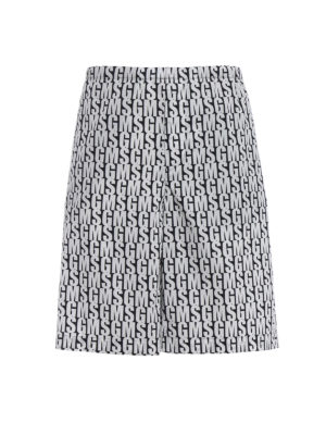M.S.G.M.: Trousers Shorts - Logo print cotton bermuda shorts