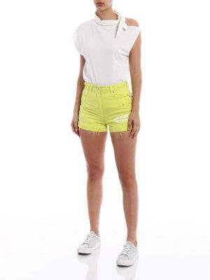 M.S.G.M.: Trousers Shorts online - Acid Yellow cotton denim shorts