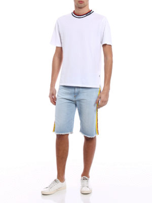 M.S.G.M.: Trousers Shorts online - Denim shorts with coloured stripes