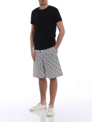 M.S.G.M.: Trousers Shorts online - Logo print cotton bermuda shorts