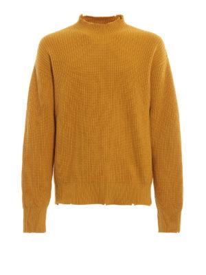 m.s.g.m.: maglia a collo alto e polo - Pullover oversize in lana effetto destroyed