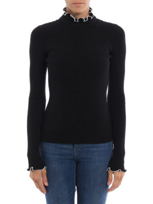 M.S.G.M.: Turtlenecks & Polo necks online - Ruched rib knitted turtleneck