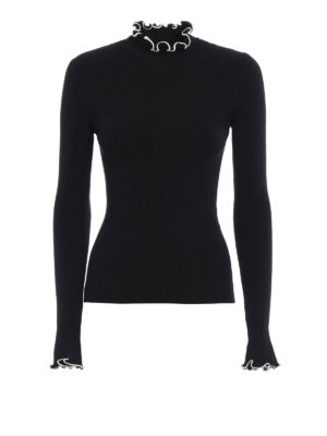 M.S.G.M.: Turtlenecks & Polo necks - Ruched rib knitted turtleneck