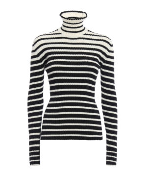 M.S.G.M.: Turtlenecks & Polo necks - Ruched striped ribbed turtleneck