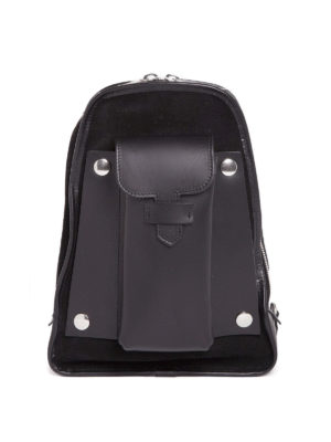 Maison Margiela: backpacks - Leather suede one shoulder backpack
