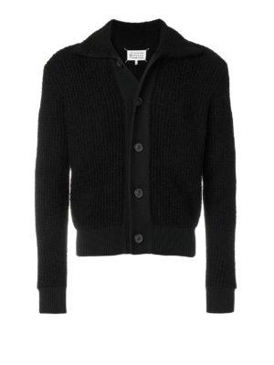 Maison Margiela: cardigans - Black cotton blend cardigan