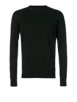 Maison Margiela: crew necks - Cotton wool sweater with patches