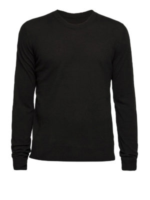 Maison Margiela: crew necks - Leather patched elbows sweater