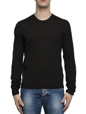 Maison Margiela: crew necks online - Leather patched elbows sweater