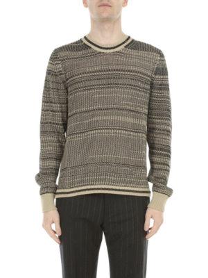 Maison Margiela: crew necks online - Striped cotton crew neck sweater