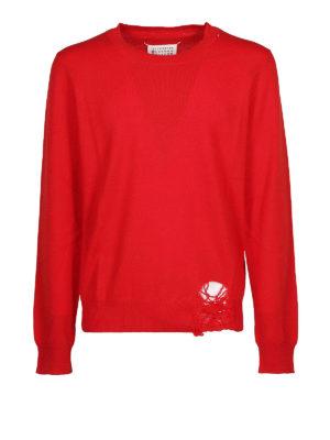 Maison Margiela: maglia collo rotondo - Pullover destroyed in lana rossa