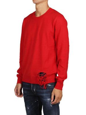 Maison Margiela: maglia collo rotondo online - Pullover destroyed in lana rossa