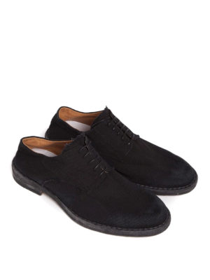Maison Margiela: scarpe stringate online - Scarpe stringate in canvas e pelle
