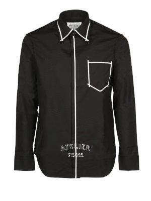 Maison Margiela: camicie - Camicia in cotone con piping a contrasto