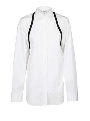 Maison Margiela: camicie - Camicia over con inserti in gros grain