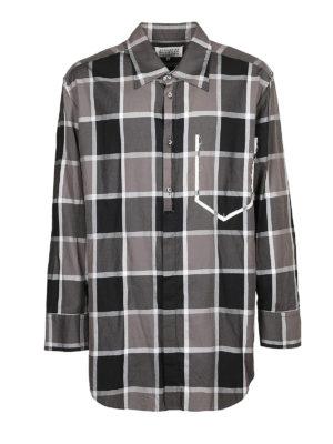 Maison Margiela: camicie - Camicia a quadri con sagoma tasca