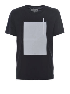 Maison Margiela: t-shirts - Black T-shirt with pen