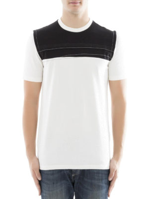 Maison Margiela: t-shirts online - Contrasting panelled cotton T-shirt